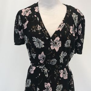 French Connection black floral print dress